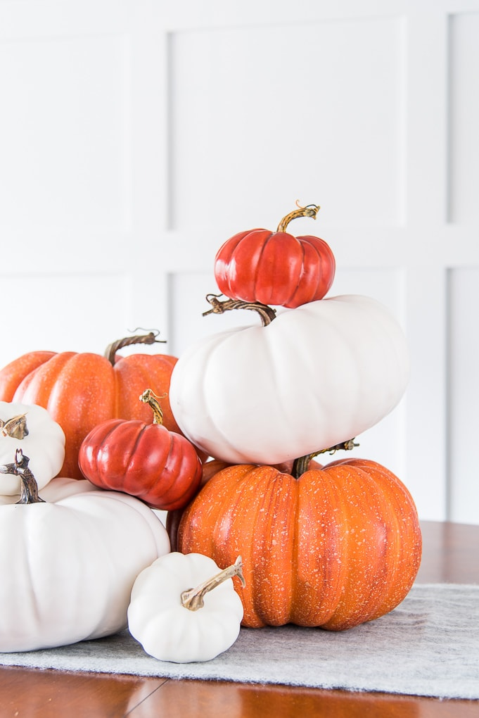 orange and white stacked pumpkins