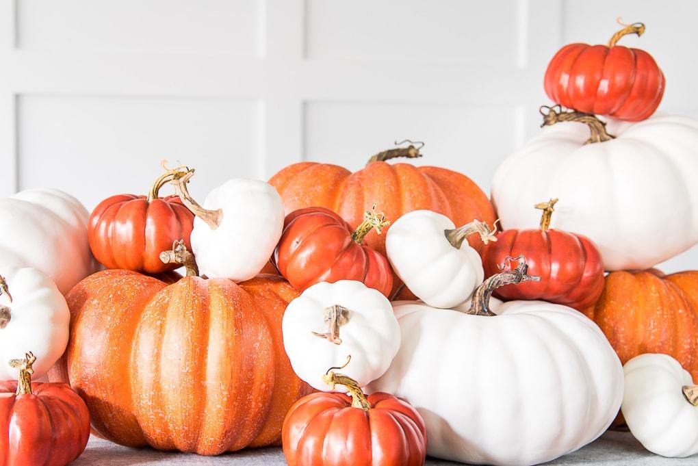 orange and white pumpkin pile centerpiece