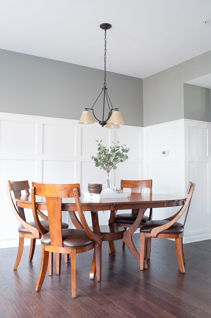 dining room table with white board and batten
