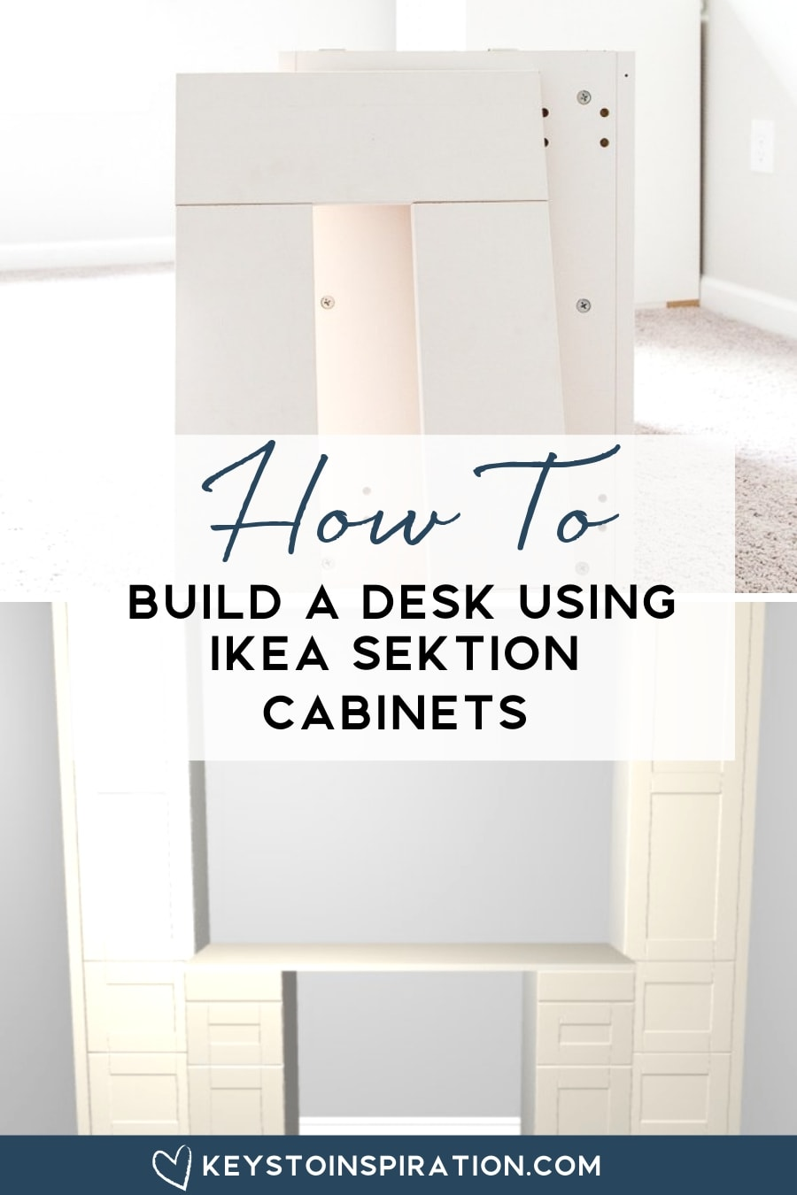 how to build a desk using IKEA SEKTION cabinets