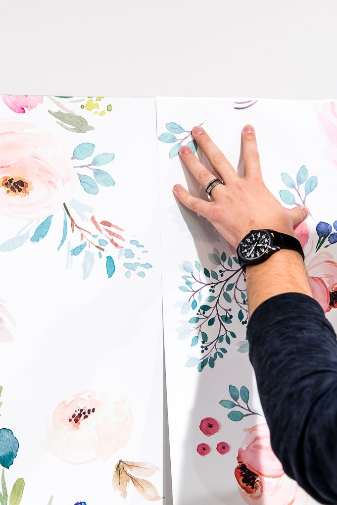 installing second panel of spoonflower removable wallpaper
