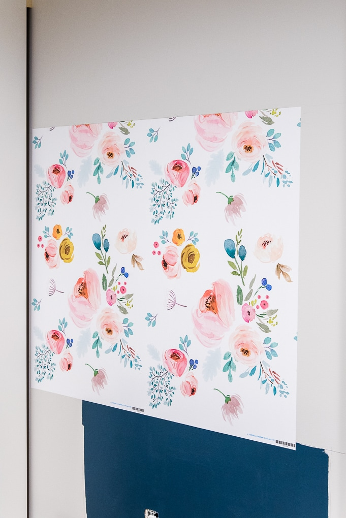two panels of spoonflower floral removable wallpaper