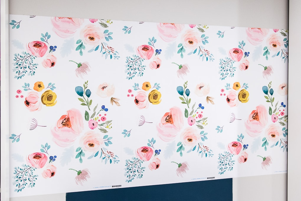installed spoonflower removable wallpaper on a wall