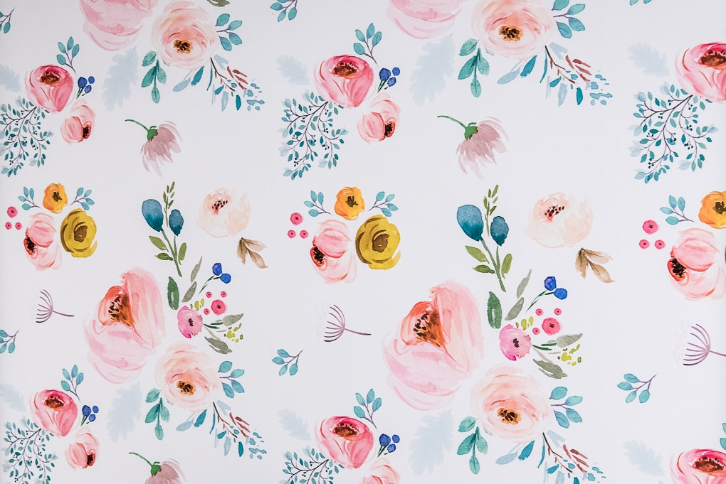 close up of spoonflower floral removable wallpaper on a wall