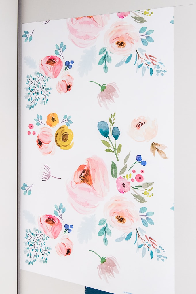 panel of spoonflower floral removable wallpaper on a wall