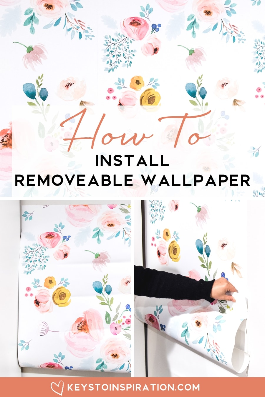 removable floral wallpaper from spoonflower how to install tutorial