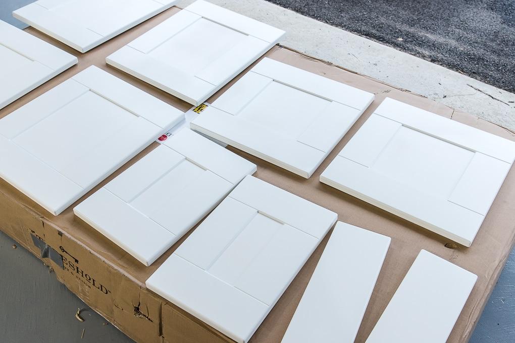 IKEA SEKTION cabinet drawer fronts primed white
