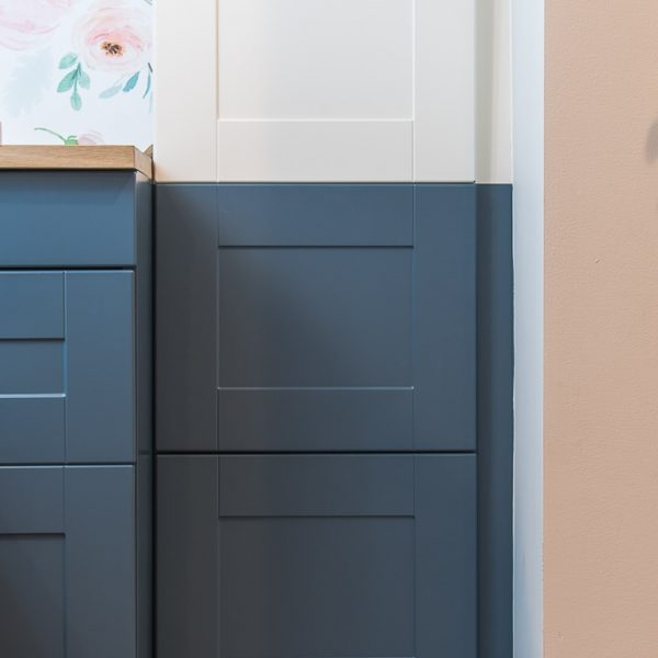 navy blue painted IKEA SEKTION cabinets