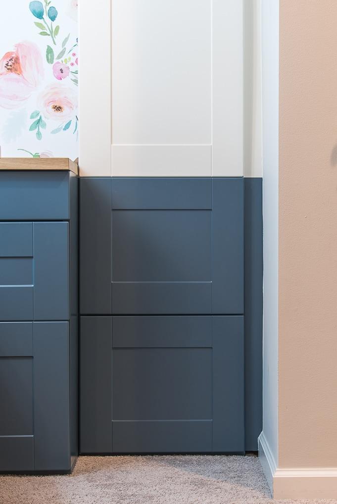 navy blue painted IKEA SEKTION cabinets