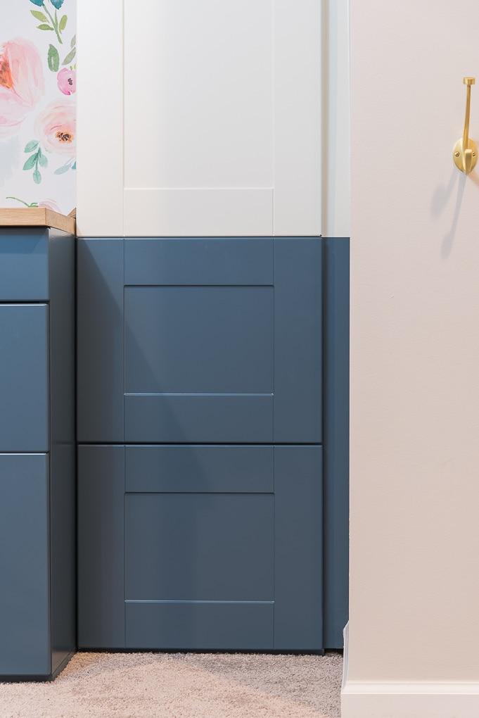navy blue IKEA SEKTION cabinet drawers