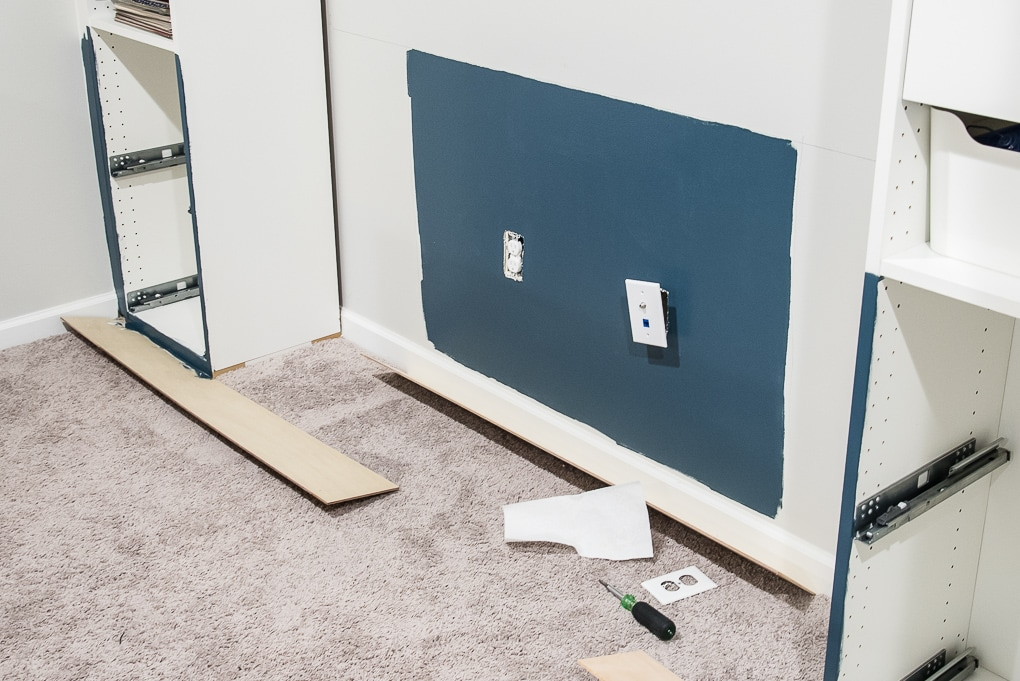 painting a wall navy blue process