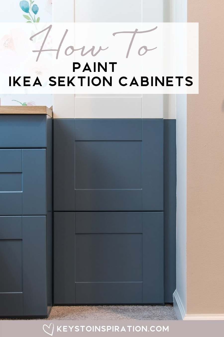 navy blue painted IKEA SEKTION cabinet in modern home office
