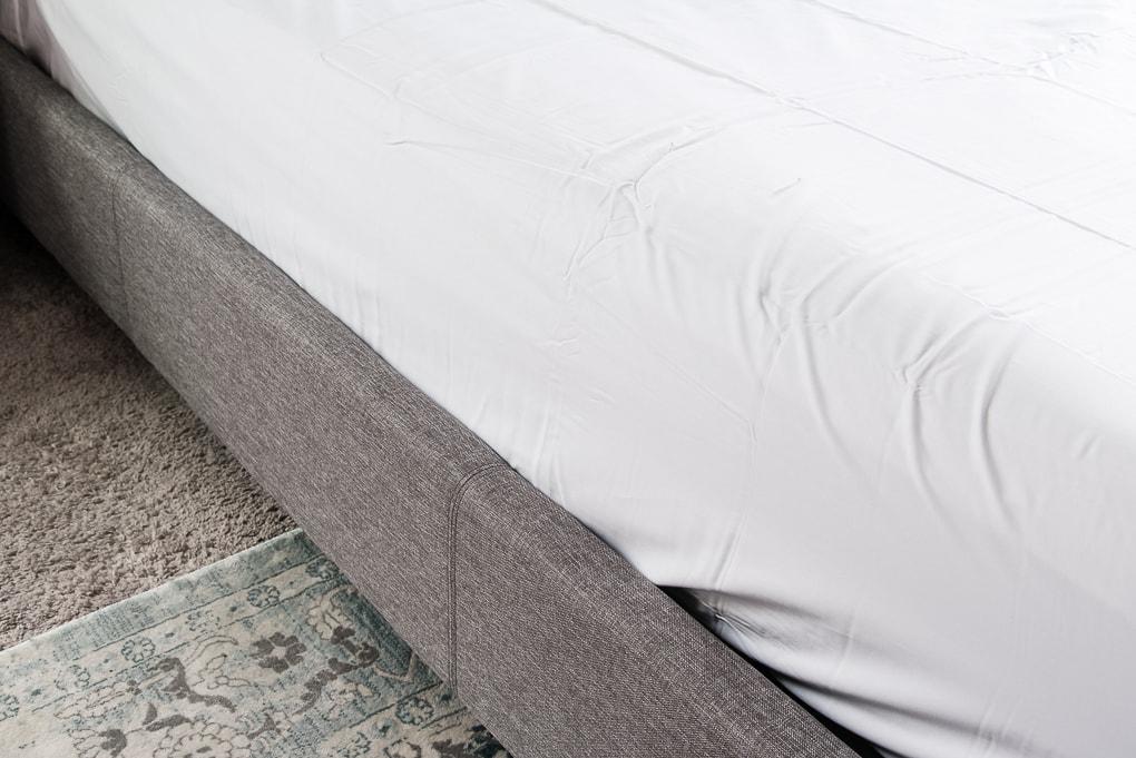 California Design Den white flat sheet close up