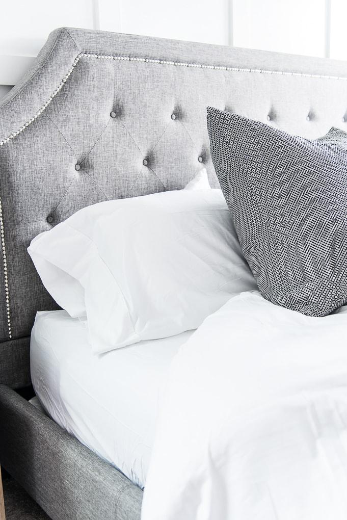 California Design Den white sheets king bed pillowcase