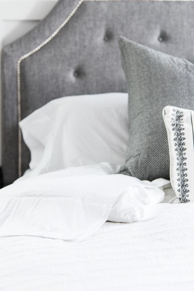 California Design Den white sheets king bed folded over