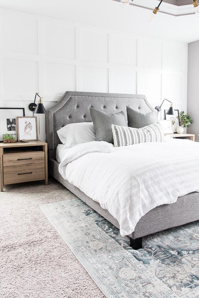 California Design Den white sheets bedding master bedroom design