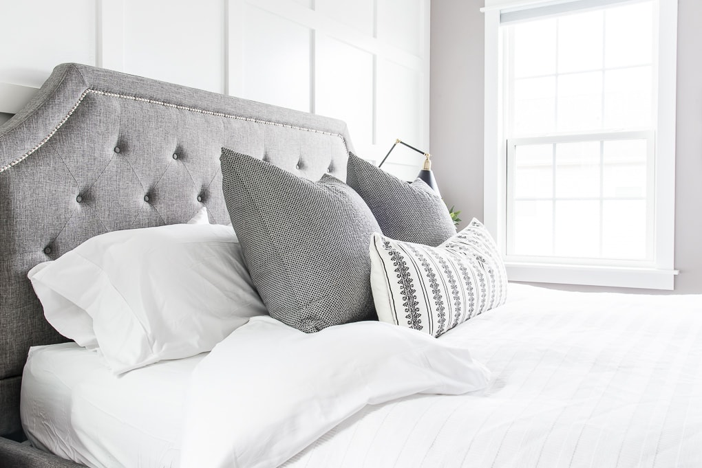 California Design Den white sheets king bed