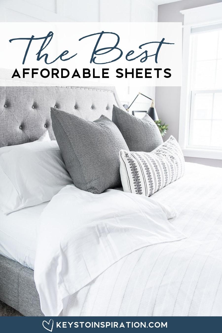 white bedding on master bedroom bed California Design Den Sheets
