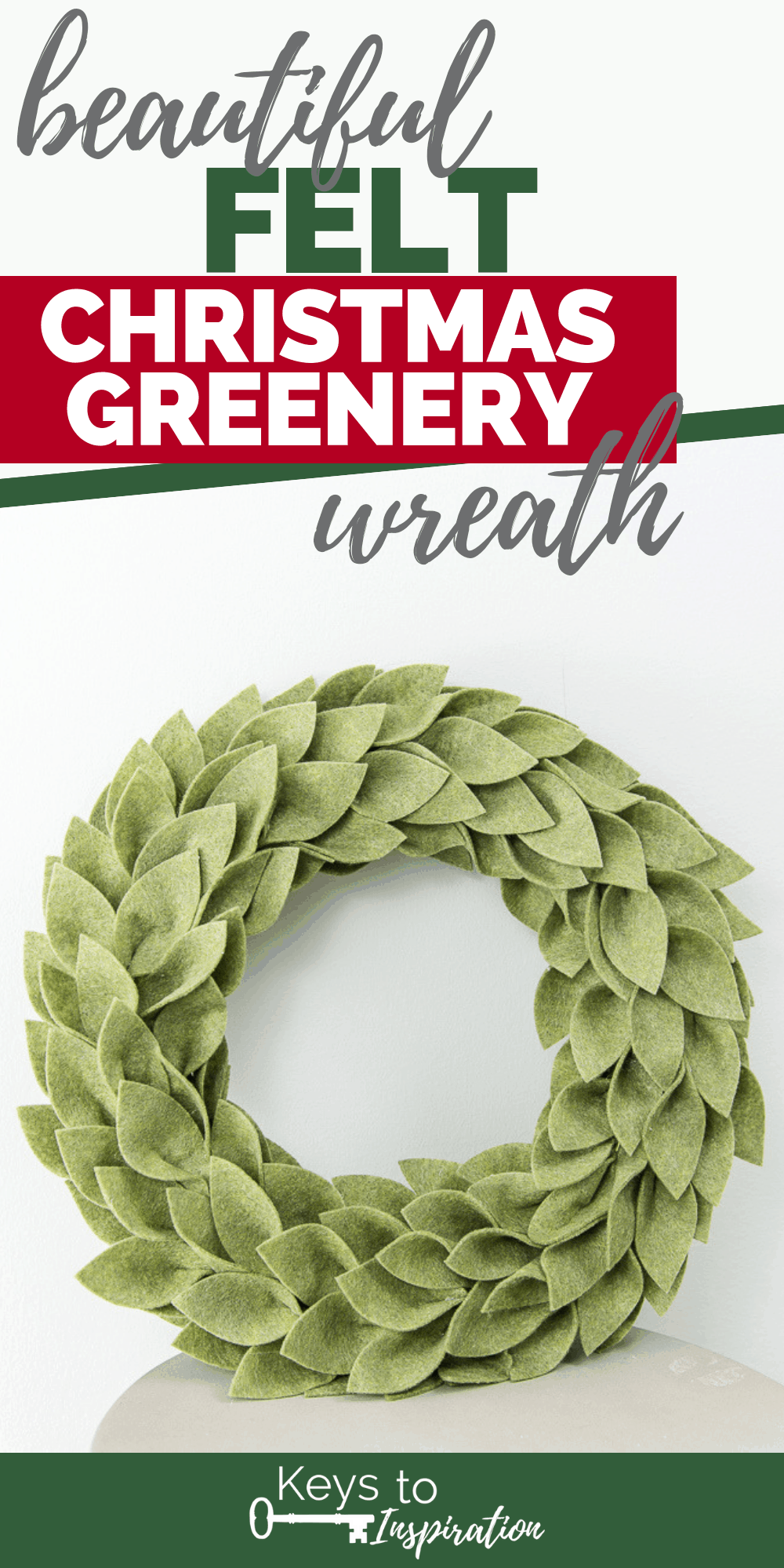 Felt Christmas greenery wreath made using the Cricut Maker