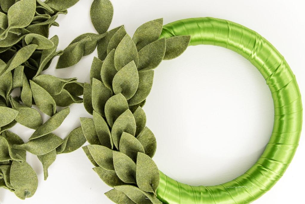 green felt leaves on a wreath form