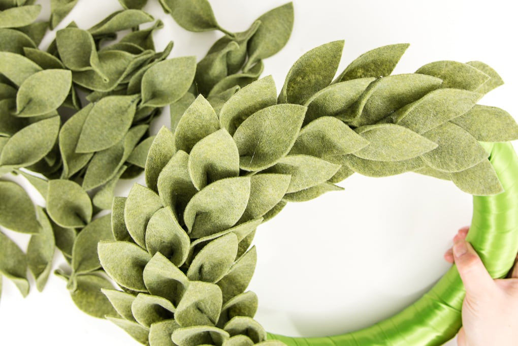 textured green felt leaves on a green wreath form