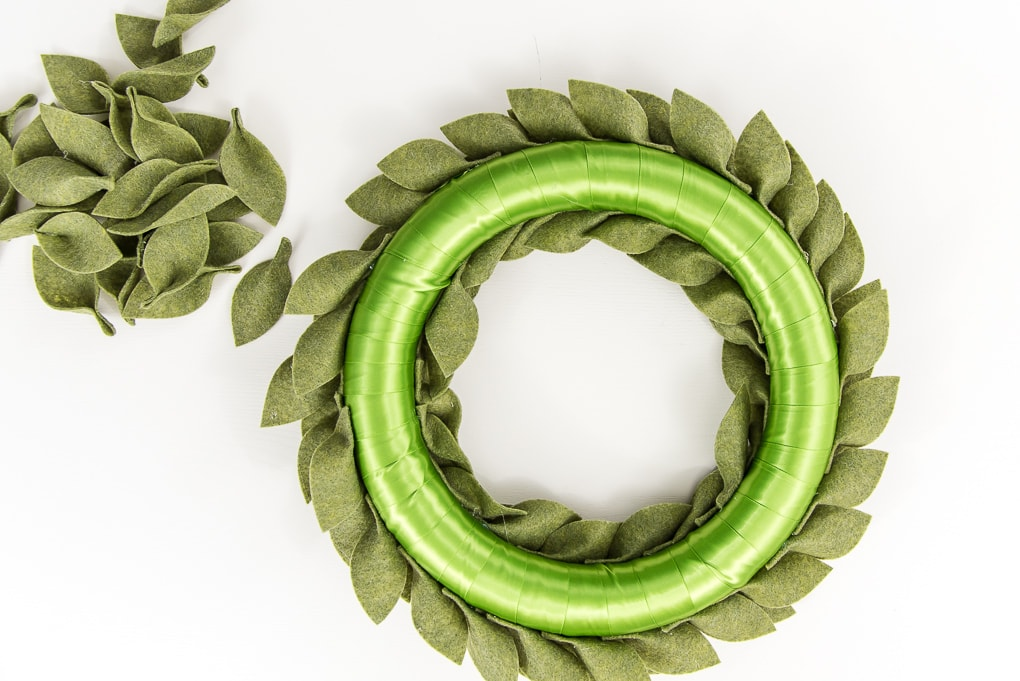 back of green felt greenery wreath
