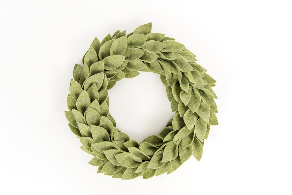 olive green felt greenery wreath