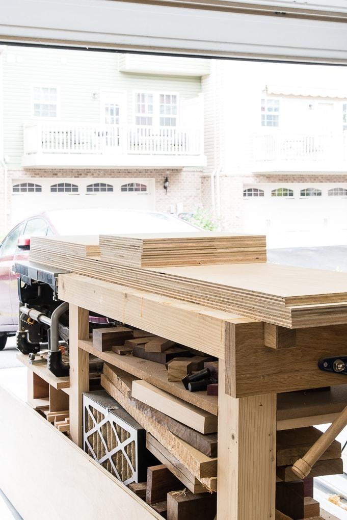 finishing plywood in workshop