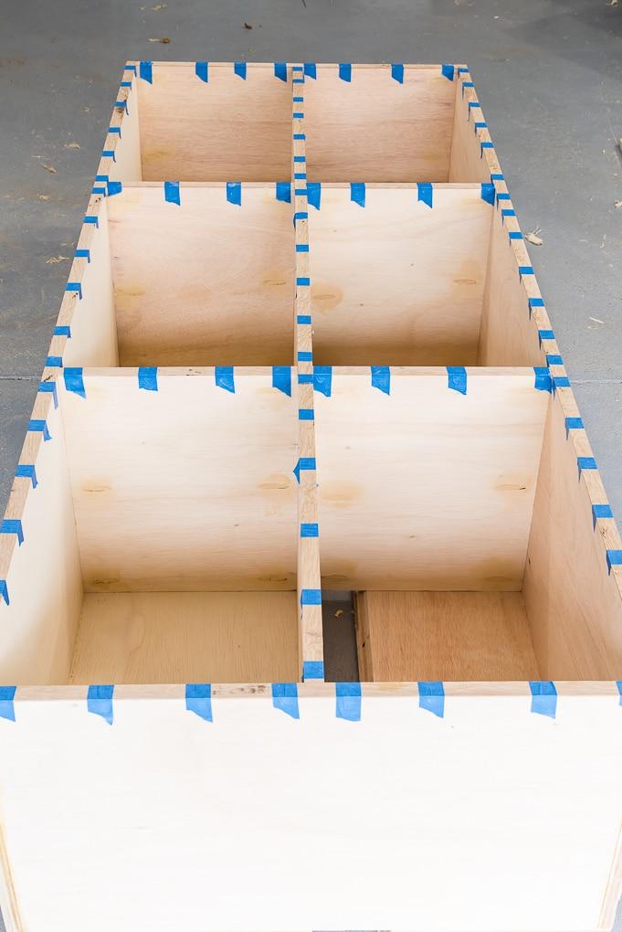 building diy bookshelves adding edge trim