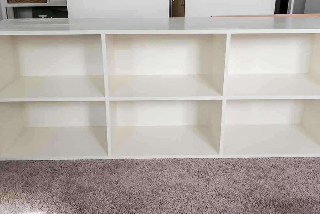 painted white diy bookshelves