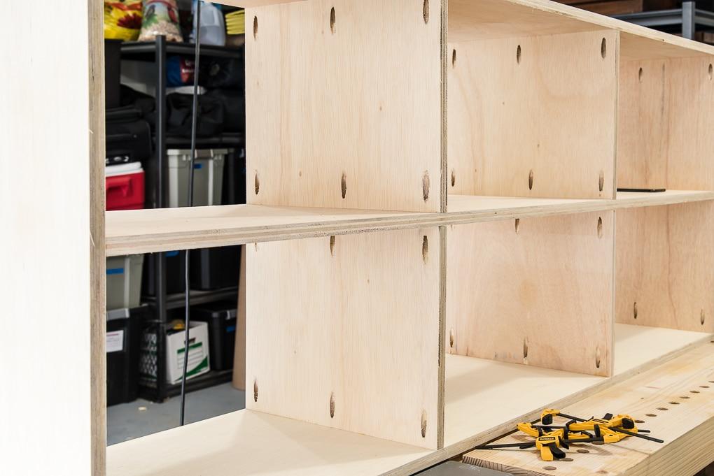 diy bookshelves in workshop