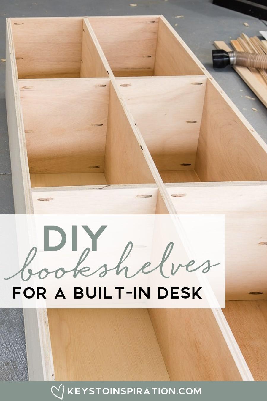 DIY build in bookshelves for a desk in home office