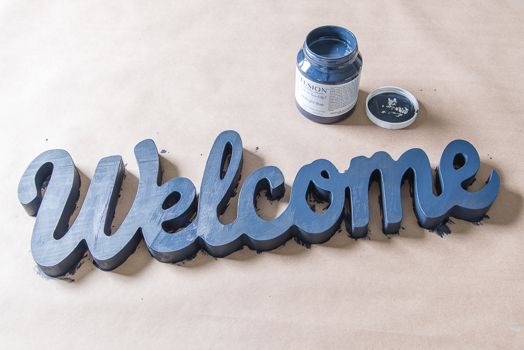 painting welcome sign fusion mineral paint midnight blue