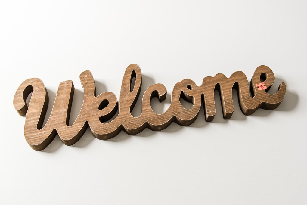 wooden welcome cutout