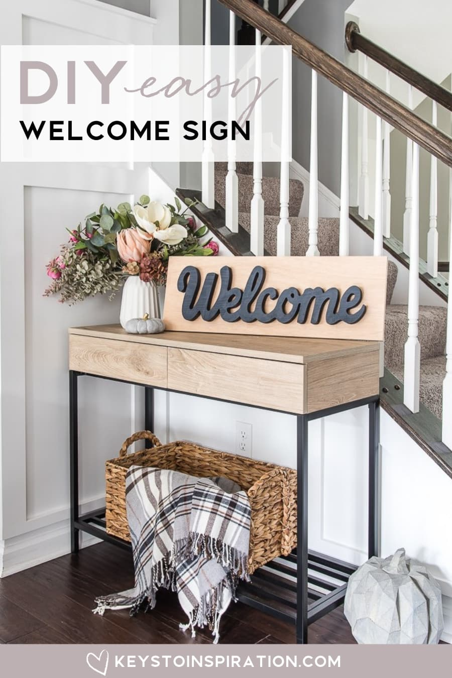 DIY welcome sign on target accent console table in dining room fall decor