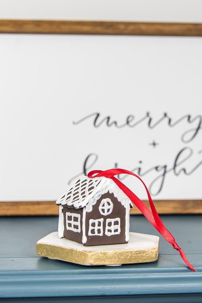 back of diy mini gingerbread house Christmas ornament