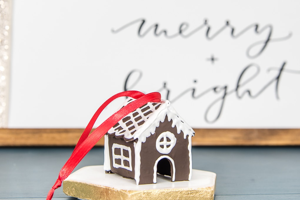 diy mini gingerbread house Christmas ornament with red ribbon