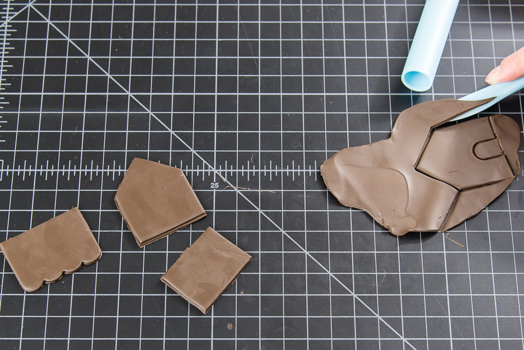 brown oven-baked clay pieces cut out