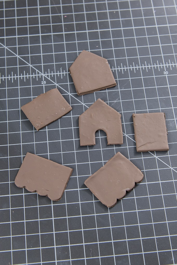 mini gingerbread house walls made out of clay
