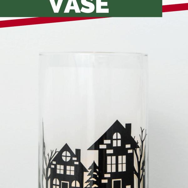 winter night hurricane vase cricut christmas project
