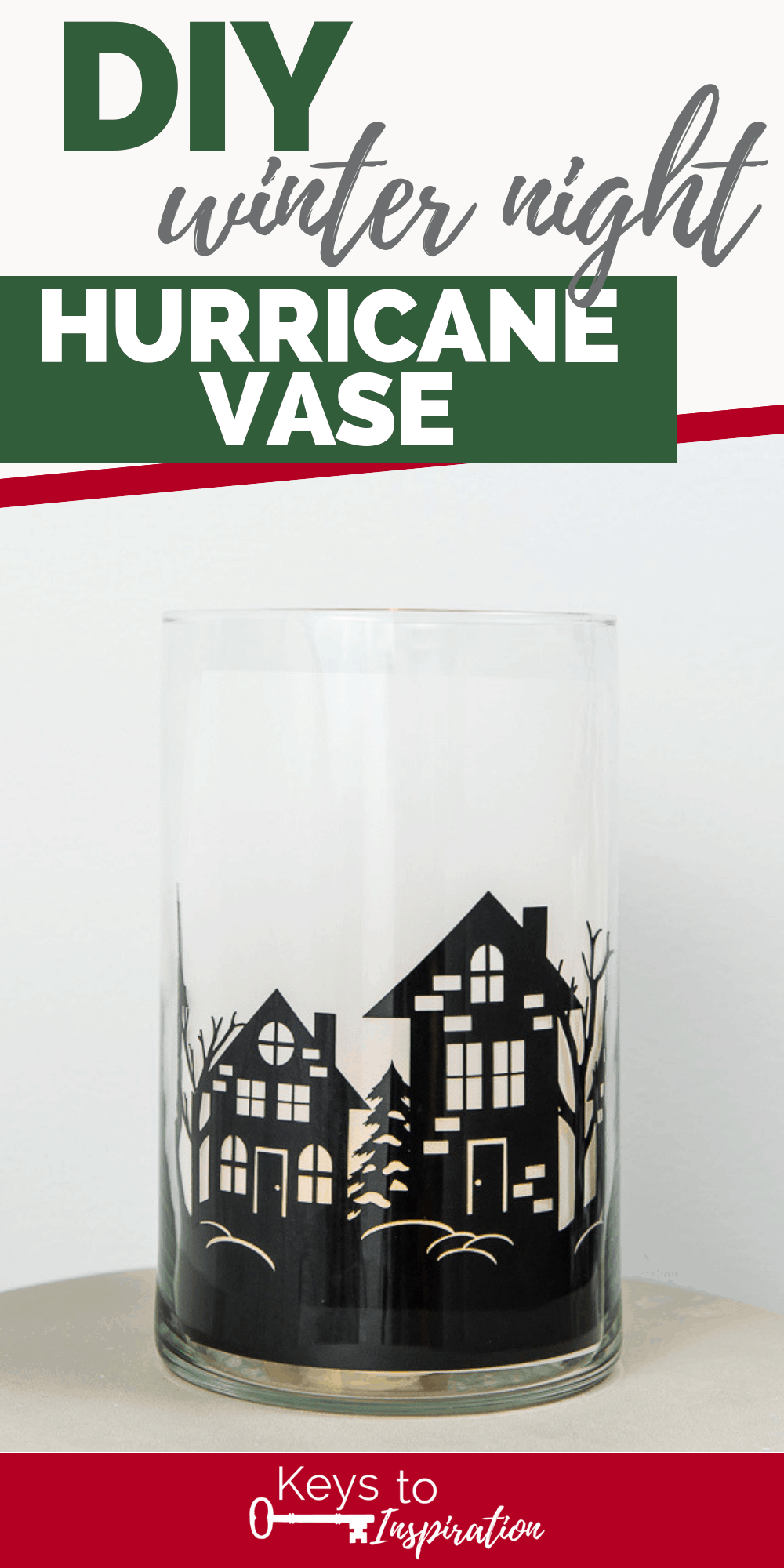 winter night hurricane vase cricut christmas project