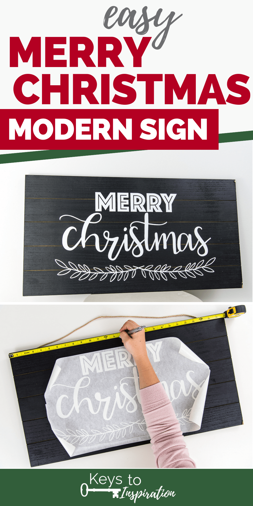 black and white Merry Christmas modern wooden sign made using the Cricut