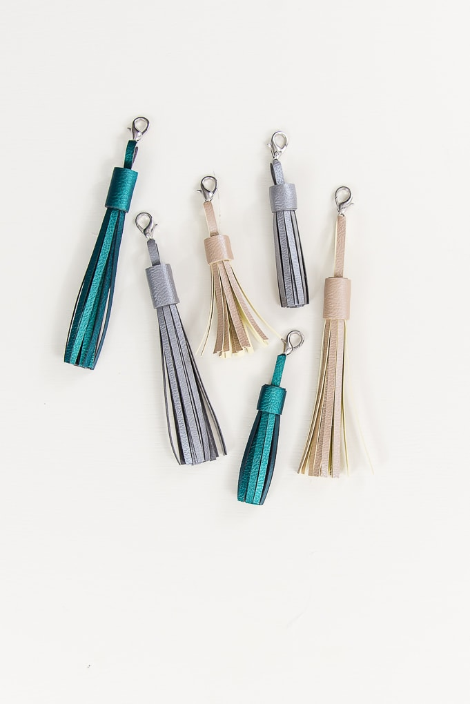 multiple colors of faux leather tassel keychains