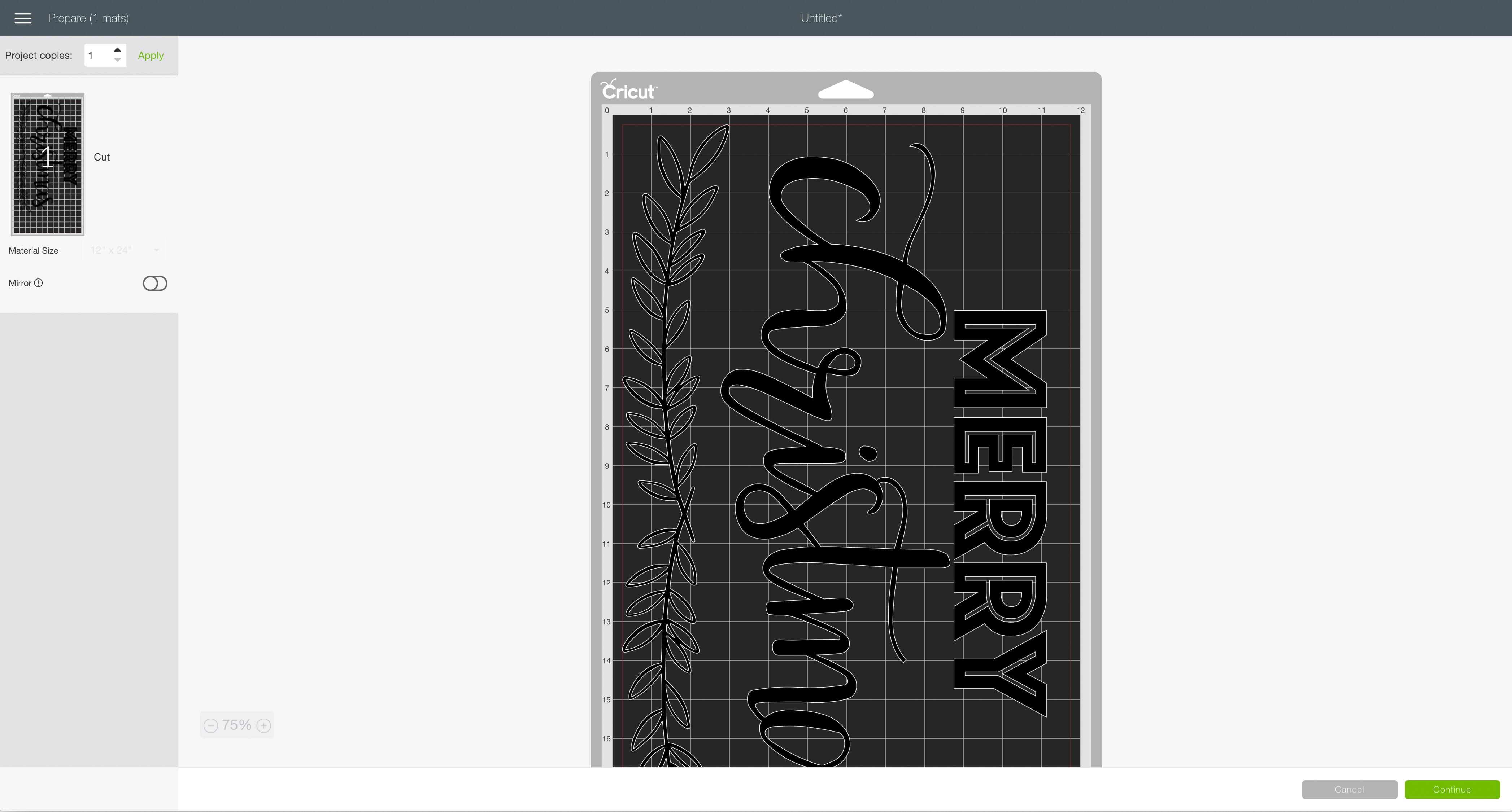 mat preview screen Cricut Design Space Merry Christmas modern sign