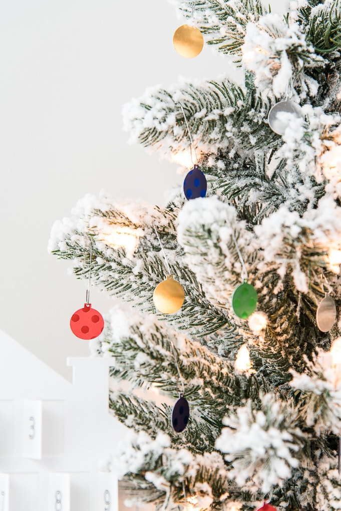 flocked christmas tree with ornaments