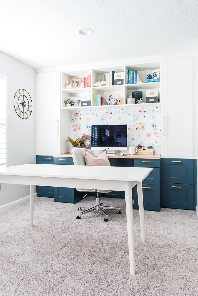 home office built-in desk with white craft table