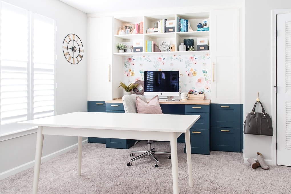home office craft room IKEA SEKTION cabinets with white table