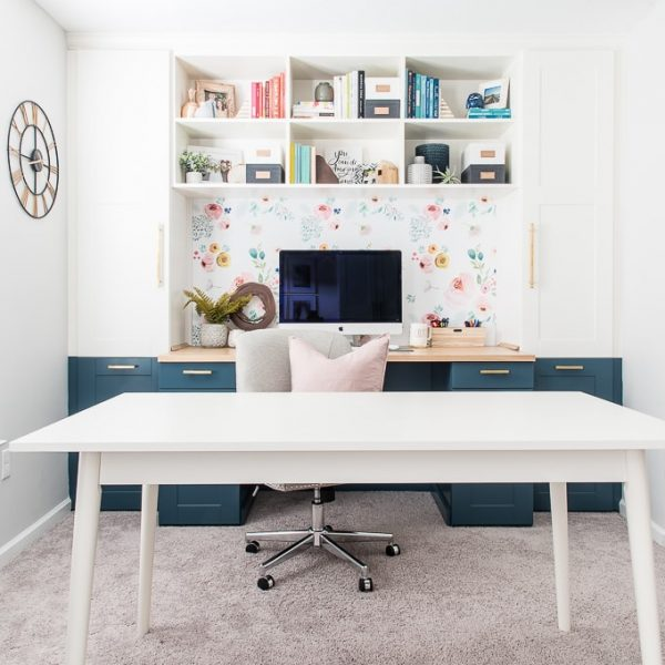 white craft table in craft room office