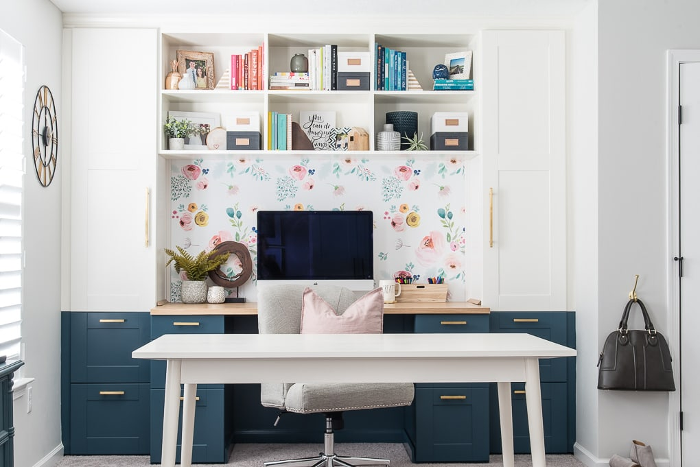built-in desk IKEA SEKTION cabinets and diy bookshelves