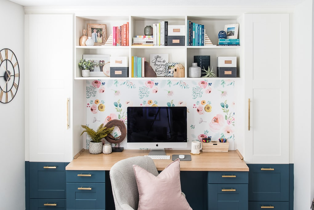 diy bookshelves styled on a built-in desk home office